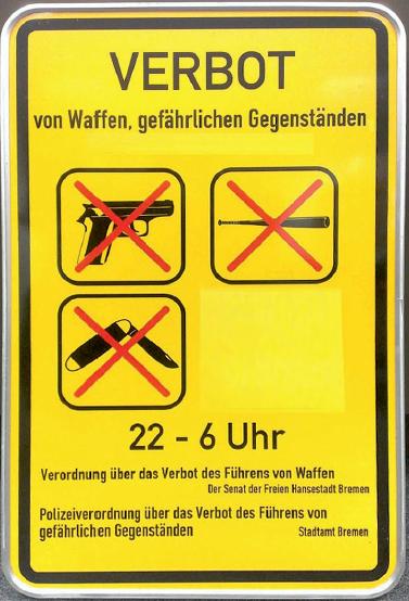 Waffenverbotszone 22-6 Uhr