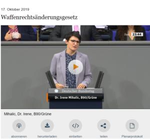 Rede Dr. Irene Mihalic  Quelle: Mediathek des Bundestags