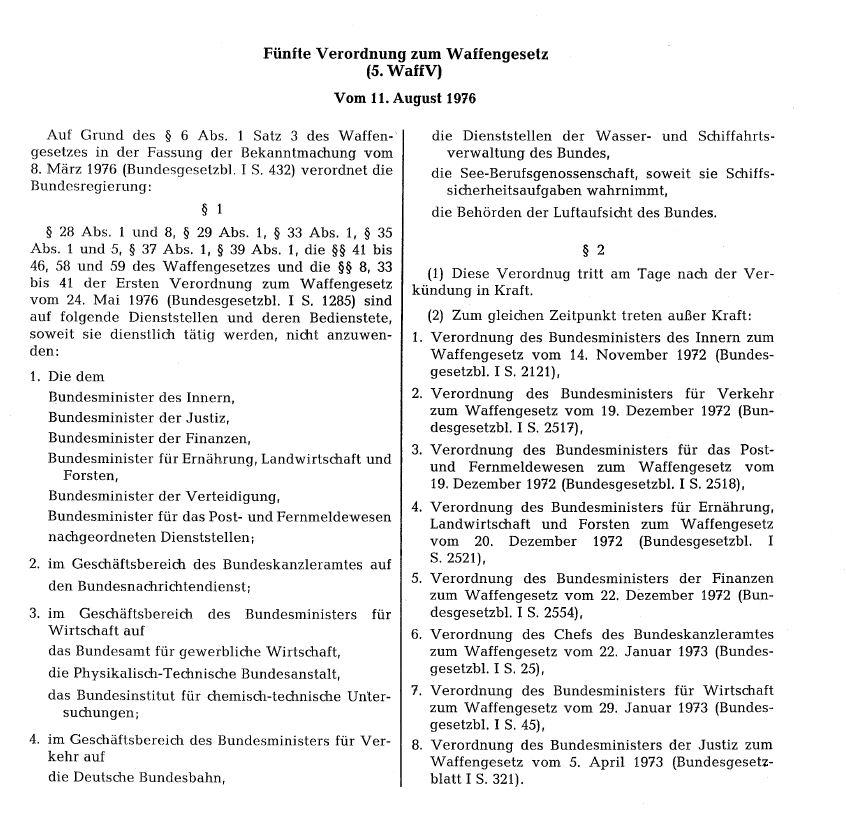Bundesgesetzblatt Teil I, 1976, Nr. 99 vom 14.08.1976: Fünfte Verordnung zum Waffengesetz (5. WaffV)